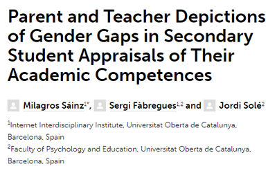 Parent and Teacher Depictions of Gender Gaps in Secondary Student Appraisals of Their Academic Competences